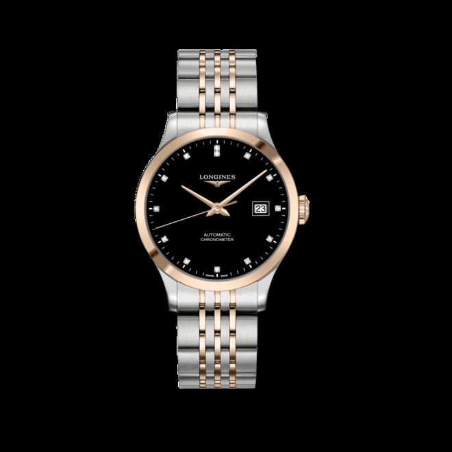 Armbanduhr Longines Record Automatik Chronometer 38,5mm mit Diamanten, schwarzem Zifferblatt und Edelstahlarmband bei Brogle