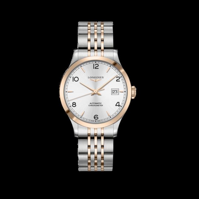 Armbanduhr Longines Record Automatik Chronometer 38,5mm mit silberfarbenem Zifferblatt und Edelstahlarmband bei Brogle