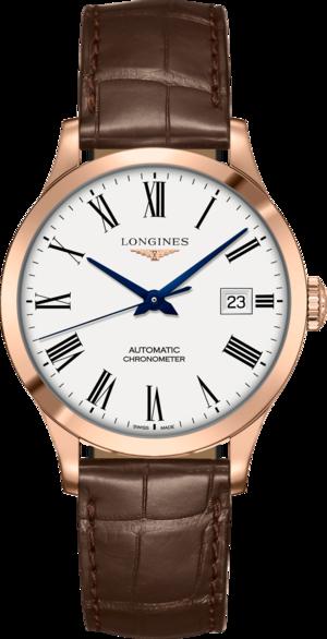 Armbanduhr Longines Record Automatik Chronometer 38,5mm mit weißem Zifferblatt und Alligatorenleder-Armband