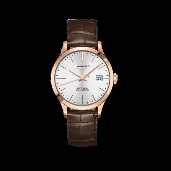 Armbanduhr Longines Record Automatik Chronometer 38,5mm mit silberfarbenem Zifferblatt und Alligatorenleder-Armband bei Brogle