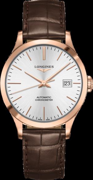 Armbanduhr Longines Record Automatik Chronometer 38,5mm mit silberfarbenem Zifferblatt und Alligatorenleder-Armband