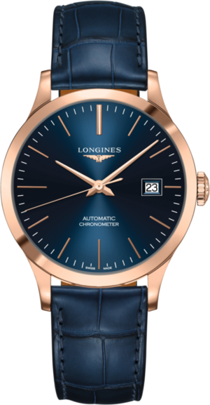 Armbanduhr Longines Record Automatik Chronometer 38,5mm mit blauem Zifferblatt und Alligatorenleder-Armband