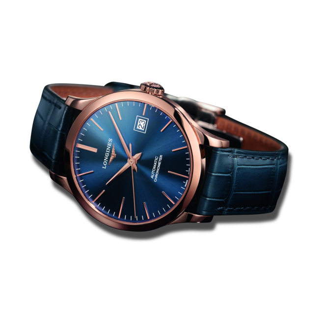 Armbanduhr Longines Record Automatik Chronometer 38,5mm mit blauem Zifferblatt und Alligatorenleder-Armband bei Brogle