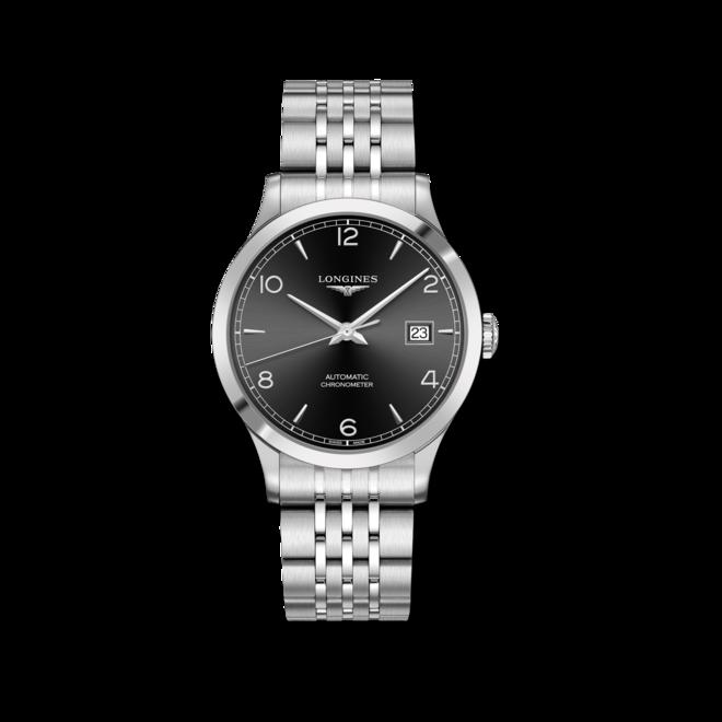 Herrenuhr Longines Record Automatik Chronometer 40mm mit schwarzem Zifferblatt und Edelstahlarmband bei Brogle