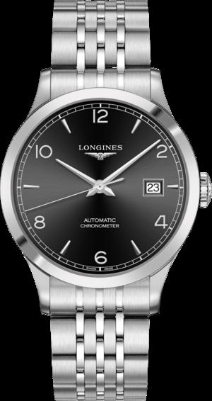 Herrenuhr Longines Record Automatik Chronometer 40mm mit schwarzem Zifferblatt und Edelstahlarmband