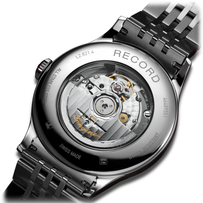 Herrenuhr Longines Record Automatik Chronometer 40mm mit silberfarbenem Zifferblatt und Edelstahlarmband bei Brogle