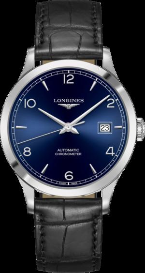 Herrenuhr Longines Record Automatik Chronometer 40mm mit blauem Zifferblatt und Alligatorenleder-Armband