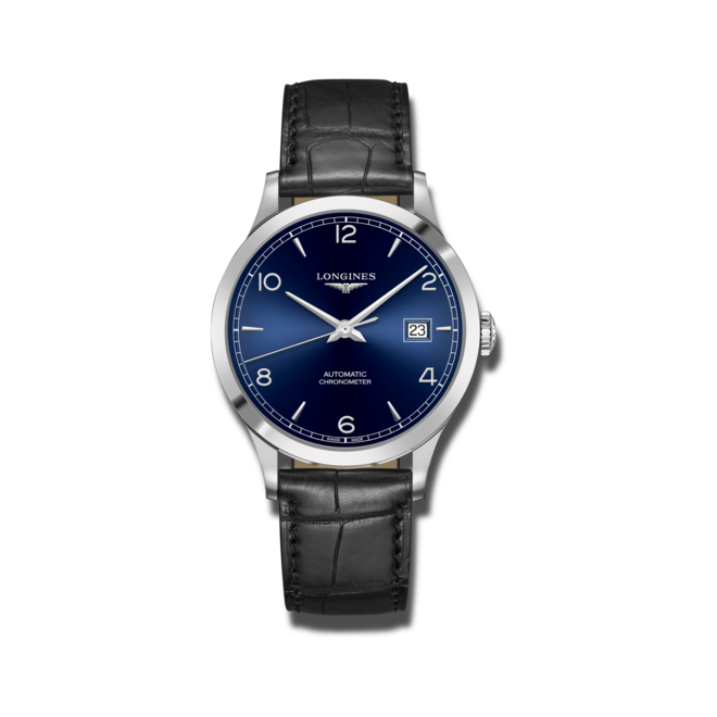 Herrenuhr Longines Record Automatik Chronometer 40mm mit blauem Zifferblatt und Alligatorenleder-Armband bei Brogle