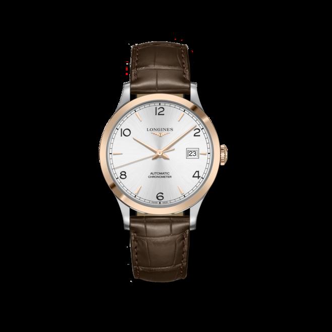 Herrenuhr Longines Record Automatik Chronometer 40mm mit silberfarbenem Zifferblatt und Alligatorenleder-Armband bei Brogle