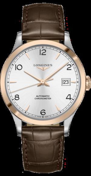 Herrenuhr Longines Record Automatik Chronometer 40mm mit silberfarbenem Zifferblatt und Alligatorenleder-Armband