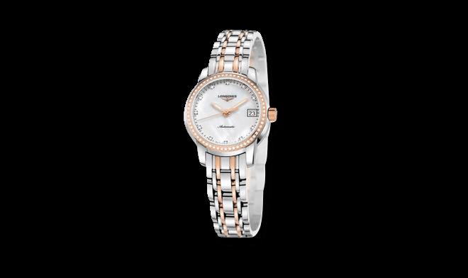 Damenuhr Longines Saint-Imier Automatik 30mm mit Diamanten, weißem Zifferblatt und Edelstahlarmband