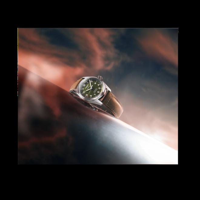 Armbanduhr Longines Spirit Automatik Chronometer 40mm mit grünem Zifferblatt und Kalbsleder-Armband bei Brogle