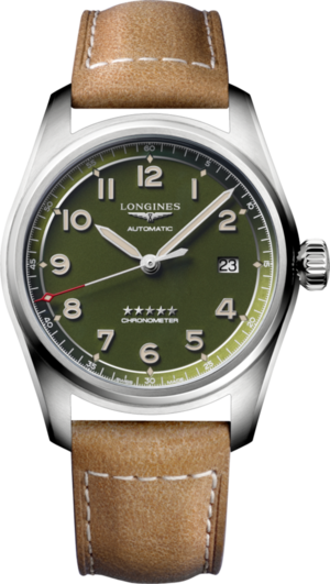 Armbanduhr Longines Spirit Automatik Chronometer 40mm mit grünem Zifferblatt und Kalbsleder-Armband