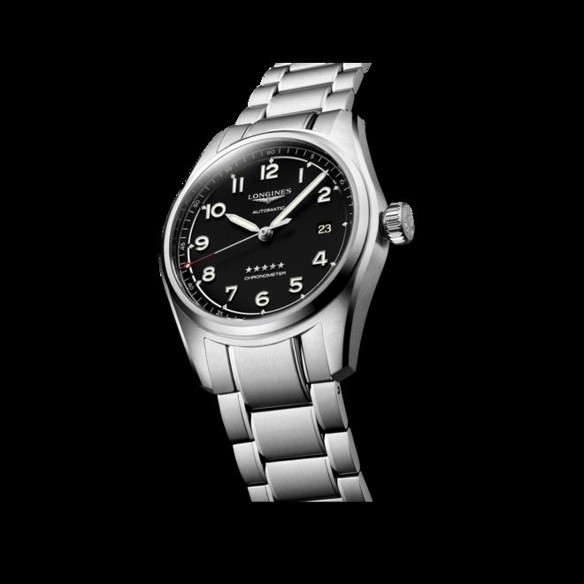 Herrenuhr Longines Spirit Automatik Chronometer 40mm mit schwarzem Zifferblatt und Edelstahlarmband bei Brogle