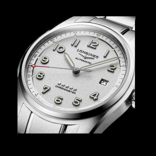 Herrenuhr Longines Spirit Automatik Chronometer 40mm mit silberfarbenem Zifferblatt und Edelstahlarmband bei Brogle