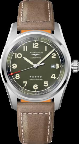 Herrenuhr Longines Spirit Automatik Chronometer 42mm mit grünem Zifferblatt und Kalbsleder-Armband