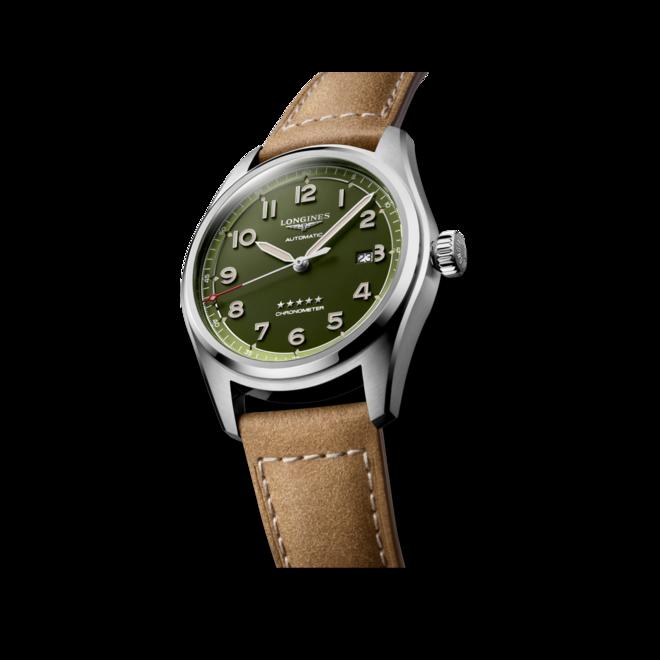 Herrenuhr Longines Spirit Automatik Chronometer 42mm mit grünem Zifferblatt und Kalbsleder-Armband bei Brogle