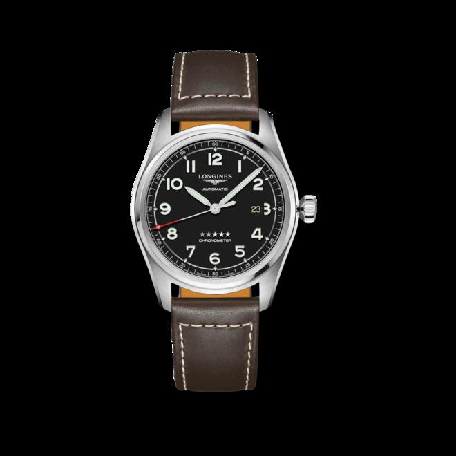 Herrenuhr Longines Spirit Automatik Chronometer 42mm mit schwarzem Zifferblatt und Kalbsleder-Armband bei Brogle