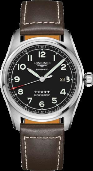 Herrenuhr Longines Spirit Automatik Chronometer 42mm mit schwarzem Zifferblatt und Kalbsleder-Armband