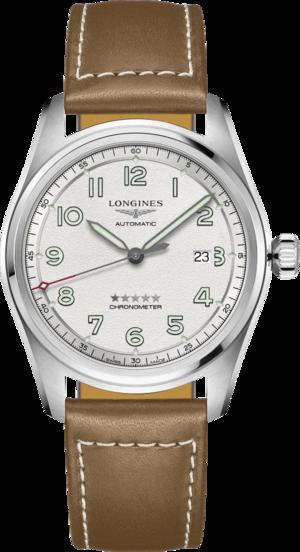 Herrenuhr Longines Spirit Automatik Chronometer 42mm mit silberfarbenem Zifferblatt und Kalbsleder-Armband