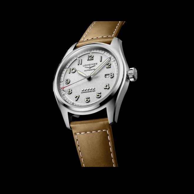 Herrenuhr Longines Spirit Automatik Chronometer 42mm mit silberfarbenem Zifferblatt und Kalbsleder-Armband bei Brogle