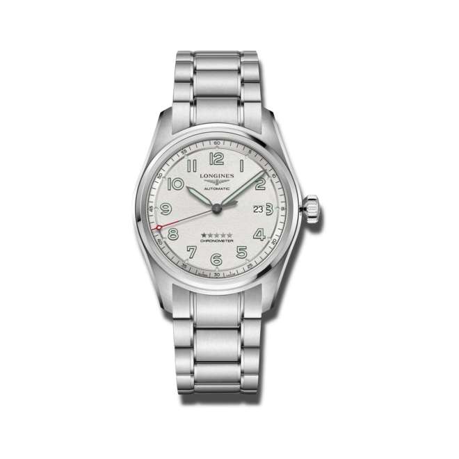 Herrenuhr Longines Spirit Automatik Chronometer 42mm mit silberfarbenem Zifferblatt und Edelstahlarmband bei Brogle