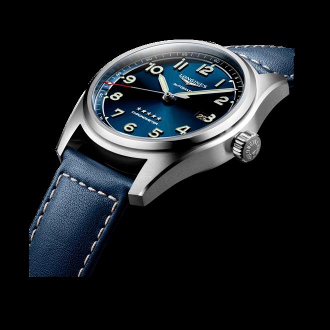 Herrenuhr Longines Spirit Automatik Chronometer 42mm mit blauem Zifferblatt und Kalbsleder-Armband bei Brogle
