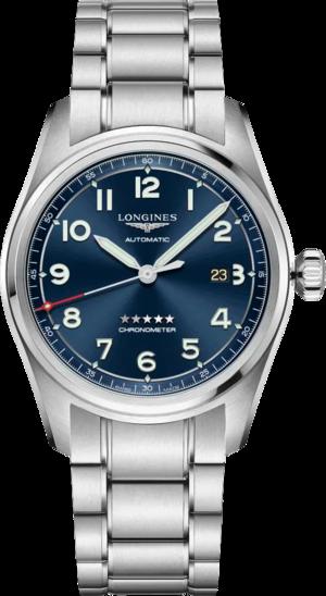 Herrenuhr Longines Spirit Automatik Chronometer 42mm mit blauem Zifferblatt und Edelstahlarmband
