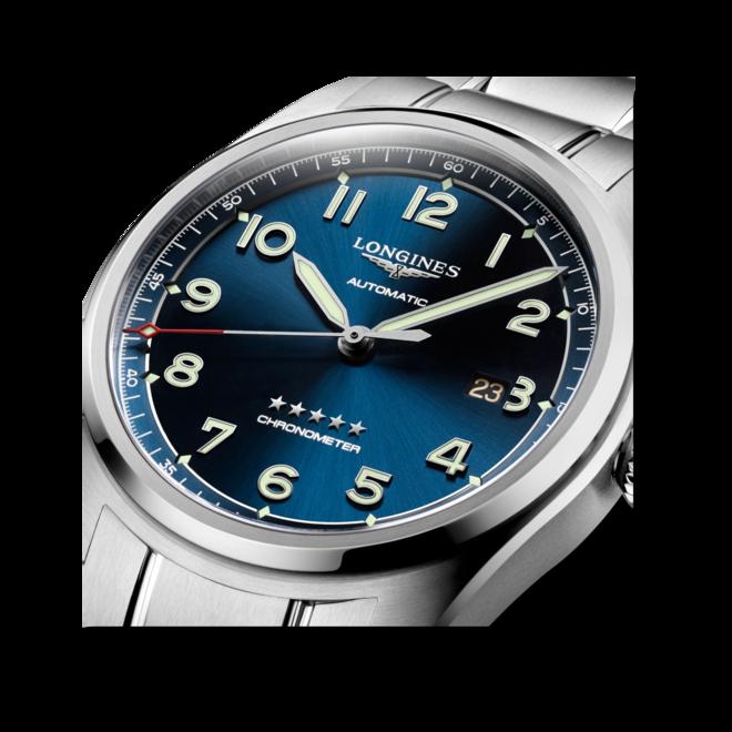 Herrenuhr Longines Spirit Automatik Chronometer 42mm mit blauem Zifferblatt und Edelstahlarmband bei Brogle