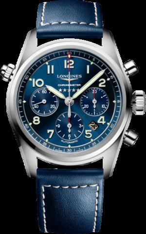 Herrenuhr Longines Spirit Automatik Chronometer 42mm mit blauem Zifferblatt und Kalbsleder-Armband