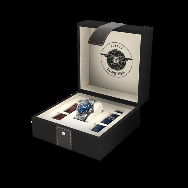 Herrenuhr Longines Spirit Automatik Chronometer Prestige Edition 40mm mit blauem Zifferblatt und Edelstahlarmband bei Brogle