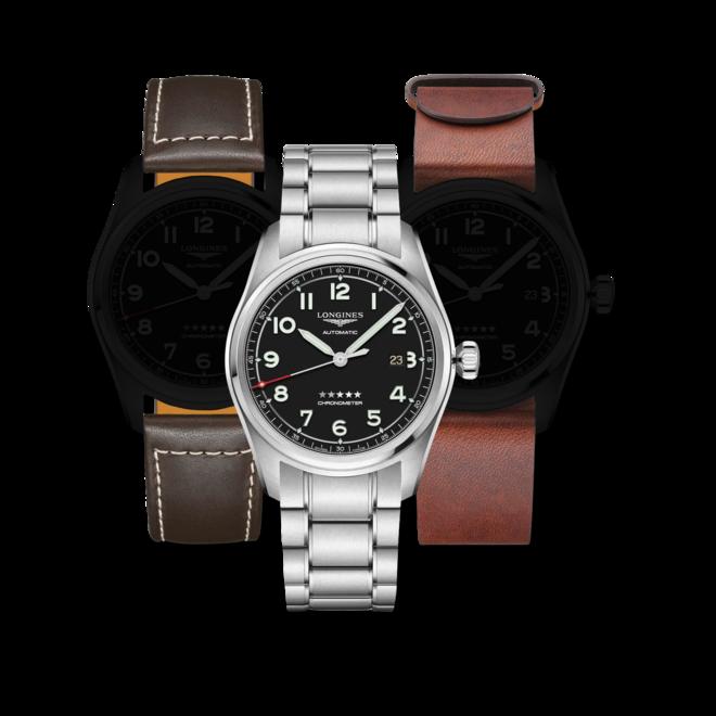 Herrenuhr Longines Spirit Automatik Chronometer Prestige Edition 42mm mit schwarzem Zifferblatt und Edelstahlarmband bei Brogle