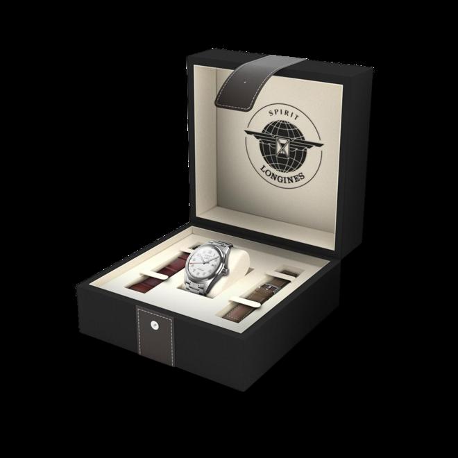 Herrenuhr Longines Spirit Automatik Chronometer Prestige Edition 42mm mit silberfarbenem Zifferblatt und Edelstahlarmband bei Brogle