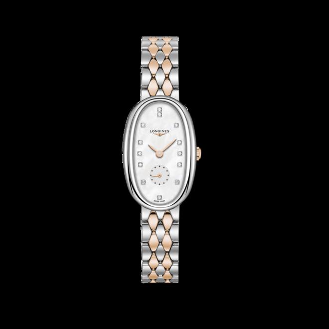 Damenuhr Longines Symphonette Quarz M mit Diamanten, perlmuttfarbenem Zifferblatt und Edelstahlarmband bei Brogle