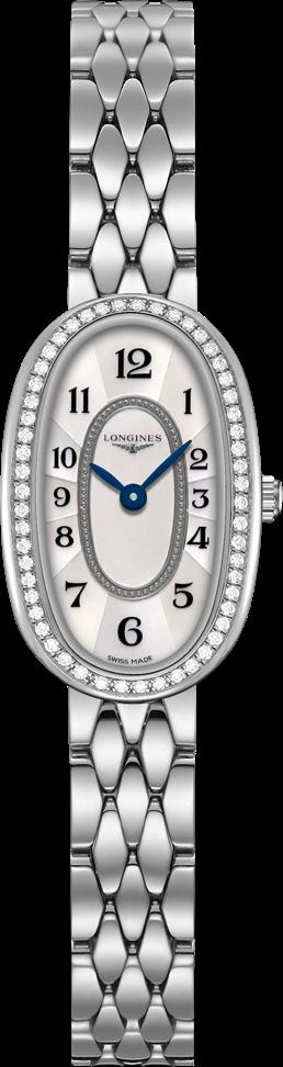 Damenuhr Longines Symphonette Quarz XS mit Diamanten, silberfarbenem Zifferblatt und Edelstahlarmband