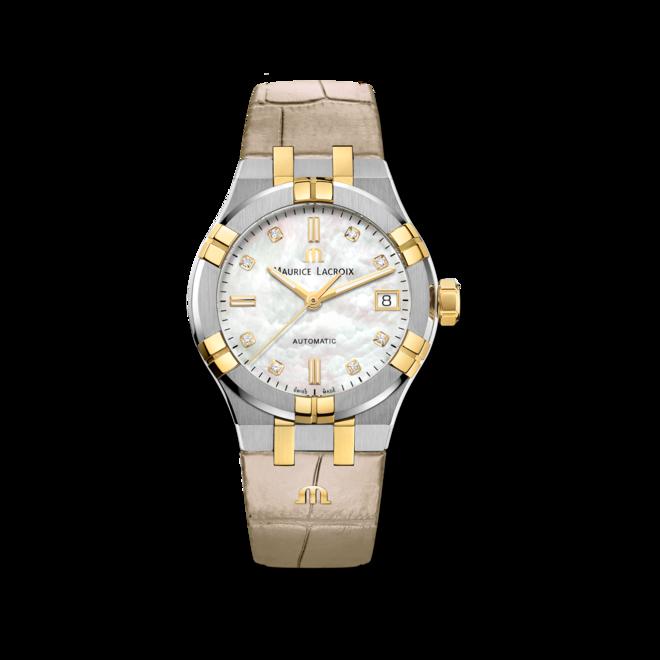 Damenuhr Maurice Lacroix Aikon Automatic 35mm mit Diamanten, weißem Zifferblatt und Armband aus Kalbsleder mit Krokodilprägung bei Brogle