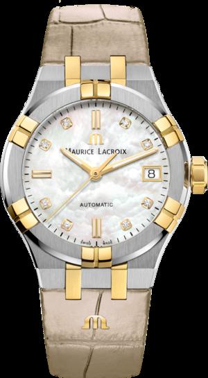 Damenuhr Maurice Lacroix Aikon Automatic 35mm mit Diamanten, weißem Zifferblatt und Armband aus Kalbsleder mit Krokodilprägung