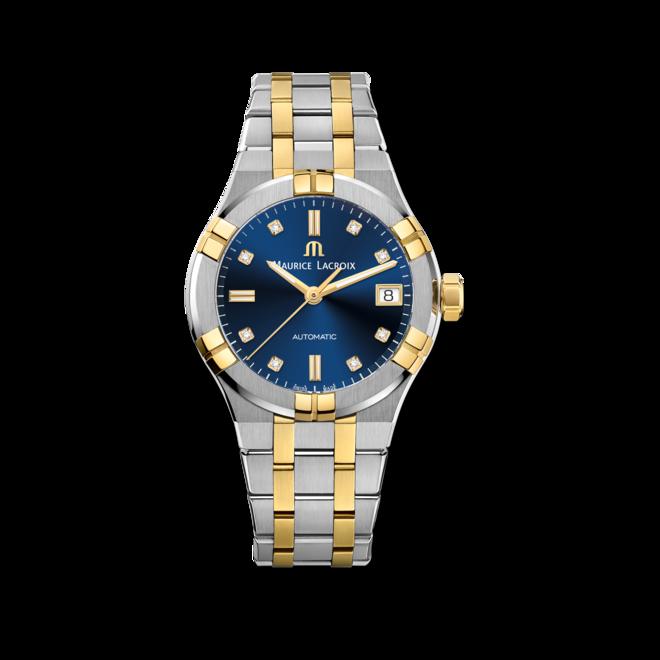 Damenuhr Maurice Lacroix Aikon Automatic 35mm mit Diamanten, blauem Zifferblatt und Edelstahlarmband bei Brogle