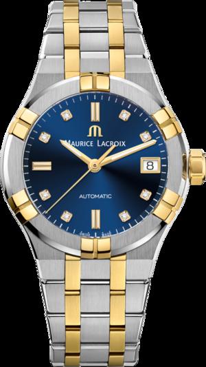 Damenuhr Maurice Lacroix Aikon Automatic 35mm mit Diamanten, blauem Zifferblatt und Edelstahlarmband