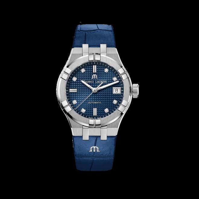 Damenuhr Maurice Lacroix Aikon Automatic 35mm mit Diamanten, blauem Zifferblatt und Armband aus Kalbsleder mit Krokodilprägung bei Brogle