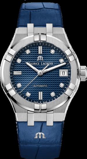 Damenuhr Maurice Lacroix Aikon Automatic 35mm mit Diamanten, blauem Zifferblatt und Armband aus Kalbsleder mit Krokodilprägung
