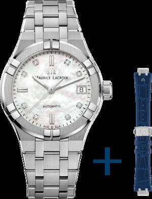 Damenuhr Maurice Lacroix Aikon Automatic 35mm mit Diamanten, weißem Zifferblatt und Edelstahlarmband