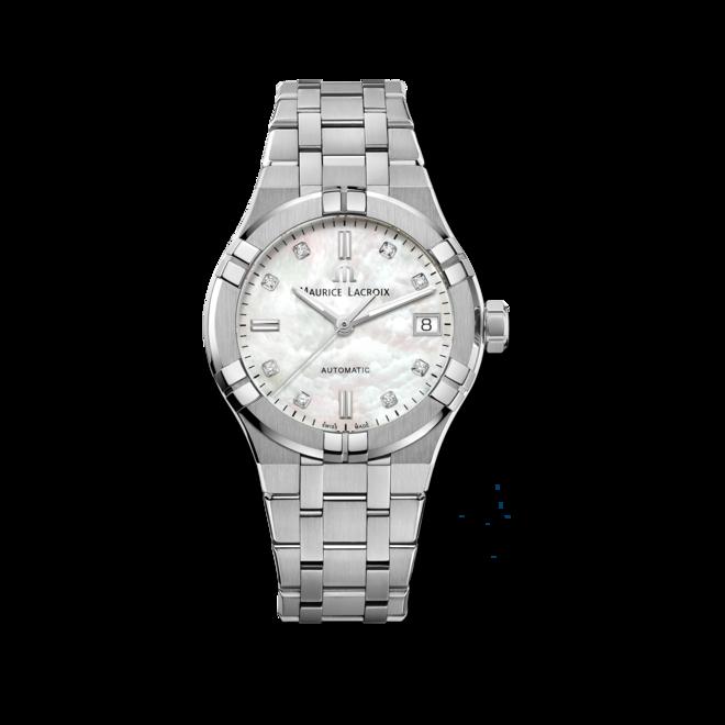 Damenuhr Maurice Lacroix Aikon Automatic 35mm mit Diamanten, weißem Zifferblatt und Edelstahlarmband bei Brogle