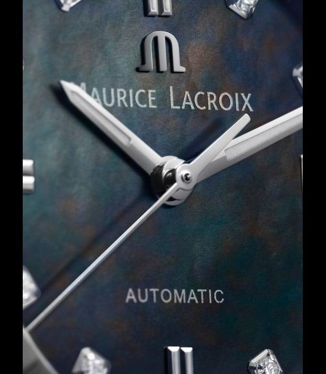 Damenuhr Maurice Lacroix Aikon Automatic 35mm mit Diamanten, mehrfarbigem Zifferblatt und Edelstahlarmband bei Brogle