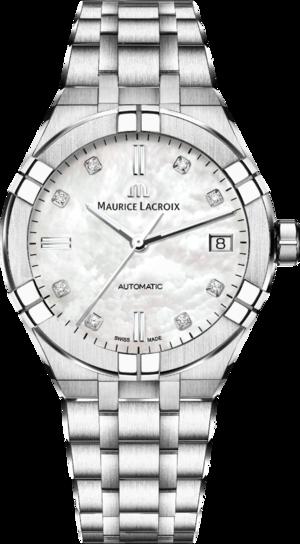 Damenuhr Maurice Lacroix Aikon Automatic 39mm mit Diamanten, perlmuttfarbenem Zifferblatt und Edelstahlarmband