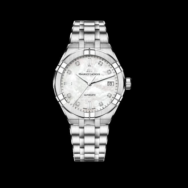 Damenuhr Maurice Lacroix Aikon Automatic 39mm mit Diamanten, perlmuttfarbenem Zifferblatt und Edelstahlarmband bei Brogle