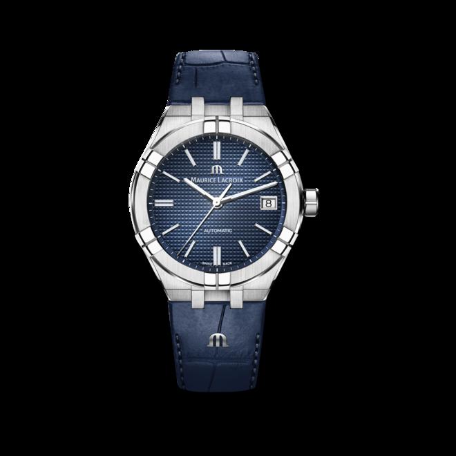 Herrenuhr Maurice Lacroix Aikon Automatic mit blauem Zifferblatt und Kalbsleder-Armband bei Brogle