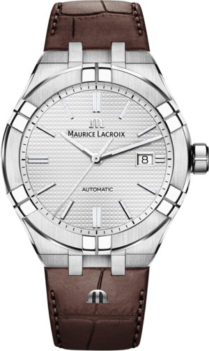 Herrenuhr Maurice Lacroix Aikon Automatic mit silberfarbenem Zifferblatt und Armband aus Kalbsleder mit Krokodilprägung
