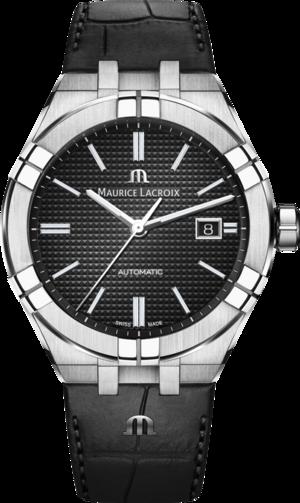 Herrenuhr Maurice Lacroix Aikon Automatic mit schwarzem Zifferblatt und Armband aus Kalbsleder mit Krokodilprägung