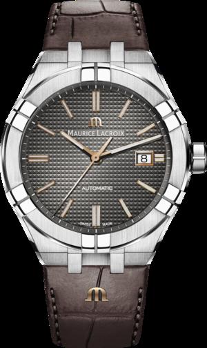 Herrenuhr Maurice Lacroix Aikon Automatic mit schwarzem Zifferblatt und Kalbsleder-Armband